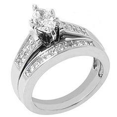 Womens Diamond Engagement Ring Bridal Set Marquise Shape White Gold 75ct Center | eBay