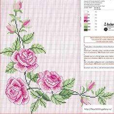 Χειροτεχνήματα: Κεντητά τραπεζομάντηλα με τριαντάφυλλα /Rose cross stitch tablecloths