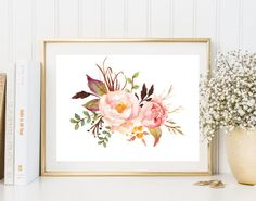 Flowers print pink peony watercolor print floral wall art