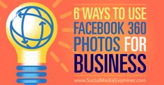6 Ways to Use Facebook 360 Photos for Business http://www.socialmediaexaminer.com/6-ways-to-use-facebook-360-photos-for-business?utm_source=rss&utm_medium=Friendly Connect&utm_campaign=RSS @smexaminer