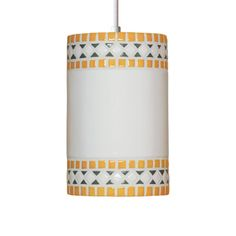 Borders Pendant Sunflower Yellow is a classic, simple, and yet timeless. This design is reminiscent of the mosaics of ancient Greece and Rome. Straight bands of color at top and bottom set off the squared diamond shapes between. This elegant fixture will be at home in any setting.