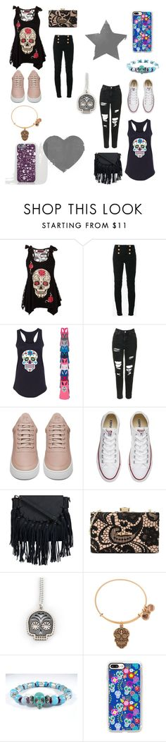 """""""Day of the Dead"""" by kreativekoala ❤ liked on Polyvore featuring Balmain, Topshop, Filling Pieces, Converse, Love Moschino, Alex and Ani and Casetify"""