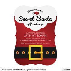 CUTE Secret Santa Gift Exchange Party 5x7 Paper Invitation Card Secret Santa Game, Secret Santa