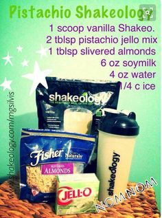 Pistachio Shakeology made with pistachio jello pudding mix! Protein Shake Recipes, High Protein Snacks, Protein Shakes, Keto Shakes, Shakeology Shakes, Vanilla Shakeology, Beachbody Shakeology, Herbalife Shake, Herbalife Nutrition