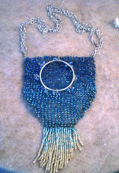 Sparkly wire knitted and Beaded Purse in Silver by infuseddesigns, $44.95