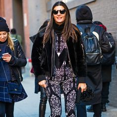 Dark prints seen on street style stars and editors at NYFW 2016