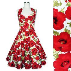 Floral Dress Red Poppy Flower Dress Vintage Rockabilly Pin Up Dress 50s Dress Retro Swing Dress Wedding Prom Bridesmaid Dress Party Dress