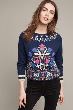 Slide View: 1: Floral Intarsia Sweatshirt