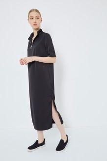 Robe longue satinée Tannis Sally <br> Noir