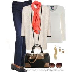 """""""Cardigan with Jeans"""" by fiftynotfrumpy on Polyvore"""
