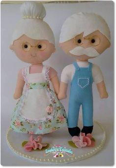 Grandma grandpa felt dolls idea craft sewing handmade toy