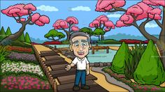 A Mature Man Charmingly Greets People At A Japanese Garden:  A mature man with gray hair wearing a white polo shirt dark gray belt blue jeans black shoes parts his lips to speak in a happy way as he slightly lifts his right hand sideways. Set in a view of a very pretty japanese garden with a small zen pond cherry blossom trees green shrubs and different flowers.