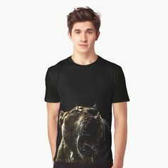 """""""Lion yawn"""" T-shirt by she-remains   Redbubble Chiffon Tops, Lion, Classic T Shirts, Just For You, Mens Tops, Clothes, Outfit, Clothing, Leo"""