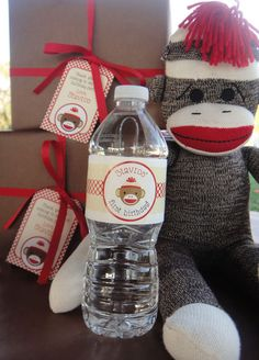 Cute sock monkey with party stuff : )