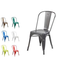 Amazon.com - Modern Vintage Metal Stackable Dining Chairs with Backs (Set of 4) Tolix Kitchen Chair Matt Silver - Chairs