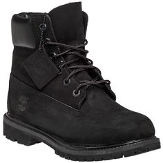 TIMBERLAND Premium 6 Inch Black Nubuck ($160) ❤ liked on Polyvore featuring shoes, boots, black nubuck, lacing boots, black waterproof boots, rugged boots, black laced boots and rubber sole boots