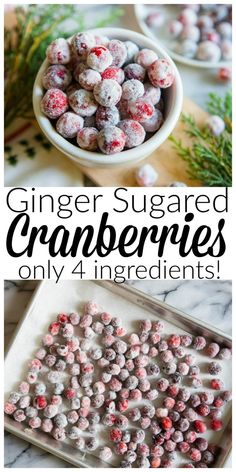 Gingered Sugared Cranberries (Only 4 Ingredients!) Best Dinner Recipes, Holiday Recipes, Snack Recipes, Dessert Recipes, Snacks, Desserts, Yogurt Bites, Sugared Cranberries, Homemade Bagels