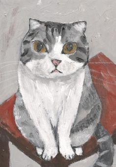 Cat portrait by Japanese artist Tetsuo Takahara (1958-2014)