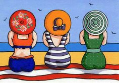 Items similar to Three Ladies Greetings Card on Etsy - <img> Art Plage, Art Fantaisiste, Whimsical Art, Beach Art, Rock Art, Painting Inspiration, Painted Rocks, Watercolor Art, Art Drawings