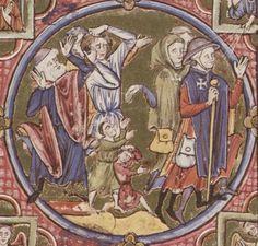 Detail Bundhaube!  Bible moralisée  - Biblia historica-allegorica iconologica Veteris Testamenti cum textu marginali gallico. 2. Viertel 13. Jhdt. (1225-1249) Cod. 2554 Folio 13