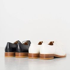Pointed Oxford Shoes, Black and Pointed Oxford Shoes, White