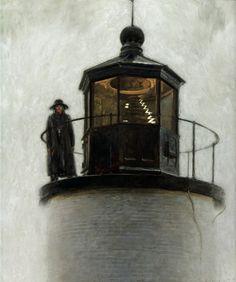 "Jamie Wyeth Light Station, Enamel and Oil on Panel, 36x30"""
