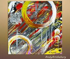 Original Abstract Painting Red Orange White  by AndyArtGallery