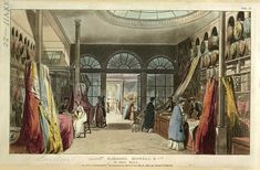 The craze for shopping boomed in the Georgian period. Most shopkeepers specialised in particular goods and were experts in their trades: drapers, booksellers, wig makers or hosiers, for example. Customers who entered a shop were allowed to handle goods over the shop counter and were encouraged to experience the merchandise on offer: to feel the latest fabrics, for example, or to try on watches or simply relax in new furniture.