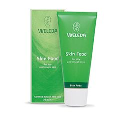 WELEDA | Skin Food 75ml. Weleda Skin Food is a deep-penetrating replenishing skin repair cream for dry patches of skin and for added protection. Ideal for skin that is dry, flaky and in need of extra care. Made with organic sunflower seed oil, and extracts of wild pansy, chamomile, calendula and revitalising rosemary extract to perk up tired skin, it is a great rescue remedy for lack-lustre or generally undernourished complexions.