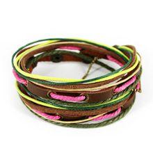 D308 хип-хоп мода панк мужские / женские кожаный мульти браслет обруча ручной серфер веревка браслет бесплатная доставка(China (Mainland))