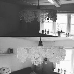 DIY Lampeskærm med blonder  og pynt
