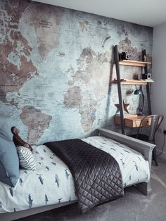 (AD – This post contains a gifted wall mural) It isn't any secret that moving house has been really difficult for the boys. Boys Bedroom Wallpaper, Bedroom Murals, Boys Bedroom Decor, Bedroom Ideas, Jugendschlafzimmer Designs, Bedroom Wall Designs, Bedroom Carpet, Wall Mural, Explorer Yacht