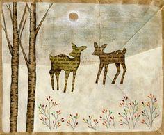 Winter Tale Deer by brownpaperbagart on Etsy, $20.00