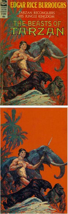 FRANK FRAZETTA - The Beasts of Tarzan by Edgar Rice Burroughs - 1963 Ace F-203 - cover by isfdb - print by erbzine.com