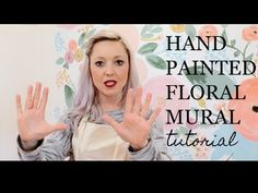 Hand Painted Floral Wall TUTORIAL Learn how to paint a custom floral mural on to the walls in your home with this quick and comprehensive tutorial! Wall Painting Flowers, Mural Painting, Painted Flowers On Wall, Paintings, Wall Murals Bedroom, Flower Mural, Hand Painted Walls, Painted Wall Murals, Floral Wall