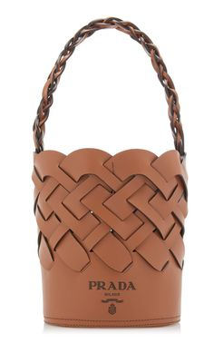 Fashioned in a woven design, Prada's everyday bag is crafted from leather with a sturdy single top handle. Don't miss its attached interior zip pouch, which is perfect for stowing smaller valuables. Prada Handbags, Tote Handbags, Leather Handbags, Handbags Online, Leather Purses, Brown Leather Satchel, Tan Leather, Braided Leather, Leather Pouch