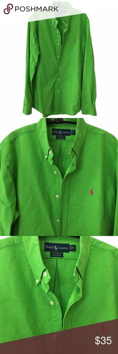 """Ralph Lauren """"custom fit"""" prewashed button down Custom fit (slim) size M. Ralph Lauren apple green oxford button-down with a fuchsia pink pony 30"""" long; 46"""" pit to pit around. Prewashed Ralph Lauren Shirts Casual Button Down Shirts"""