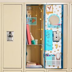 26 Incredible Cute Locker Stuff Ideas - Great manner to school diy locker decorations on thier locker laureate the birthday celebration. Volleyball locker ornament thoughts, magnets are perf. Middle School Lockers, Middle School Supplies, Middle School Hacks, School Ideas, Diy School, Girls Locker Ideas, Cute Locker Ideas, Locker Shelves, Diy Locker
