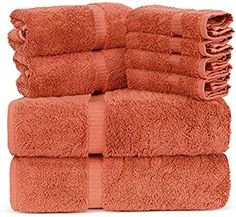 Amazon.com: Towel Bazaar Luxury Hotel and Spa Quality Dobby Border 100% Turkish Cotton Eco-Friendly and Highly Absorbent Towel Set (Set of 8, Coral): Home & Kitchen