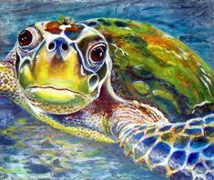 Turtle Dee Metal Print By Susan Duxter Sea Turtle Painting, Sea Turtle Art, Sea Turtles, Sea Turtle Pictures, Underwater Painting, Sea Life Art, Hawaiian Art, Ocean Art, Fish Art