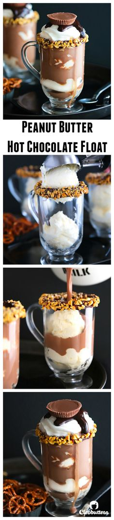 Peanut Butter Hot Chocolate Float- The hot chocolate part tastes just like a peanut butter cup!