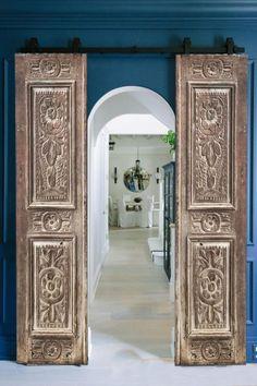 Arch Doorway, Front Door Entrance, Brick Fireplace Makeover, Interior Sliding Barn Doors, American Interior, Modern Farmhouse Interiors, Arched Doors, Cool Doors, Rustic Doors