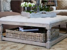 Love this coffee table with basket storage