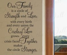 Our Family a Circle Strength and Love Home Vinyl Quote Design Art Wall Lettering Decal Saying Decoration Sticker Decor F74. $27.97, via Etsy.