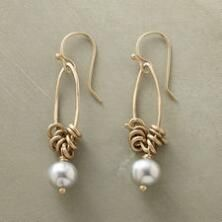 Enduring luster defines these chic, 10kt gold and pearl marquis hoop earrings