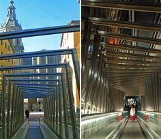 'mechanical ramps' by roberto ercilla, vitoria, spain Moving Walkway, Glass Facades, Urban Landscape, The Locals, Canopy, Interior Architecture, Spain, The Incredibles, Exterior