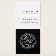 add your logo modern black and white square business card - Freelance Business Cards
