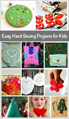 Hand Sewing Projects for Kids Easy Hand Sewing Projects for Kids: Lots of great beginner sewing projects that make great homemade gifts!Easy Hand Sewing Projects for Kids: Lots of great beginner sewing projects that make great homemade gifts! Sewing Hacks, Sewing Tutorials, Sewing Crafts, Sewing Tips, Sewing Ideas, Sewing Art, Sewing Dolls, Sewing Patterns Free, Free Sewing