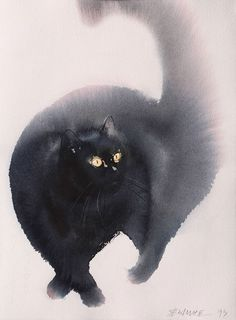 View Endre Penovác's Artwork on Saatchi Art. Find art for sale at great prices from artists including Paintings, Photography, Sculpture, and Prints by Top Emerging Artists like Endre Penovác. Animals Watercolor, Watercolor Cat, Watercolor Paintings, Watercolors, Ink Painting, Art And Illustration, Black Cat Art, Black Cats, Cat Drawing