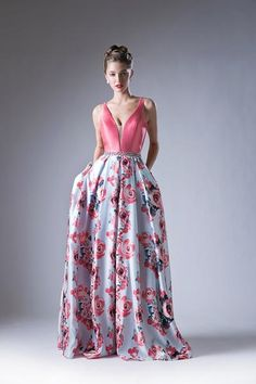 Make a grand entrance in this pink V-neck dress with long floral print skirt by Cinderella Divine. Floral Print Gowns, Printed Gowns, Floral Print Skirt, Printed Skirts, Floral Prints, Red Lace Gown, Chiffon Dress, Africa Dress, Illusion Dress